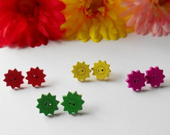 Bright Sunflower Earrings, Fun Wooden Buttons, Quirky Gifts for Girls,  Original Jewellery, Bright Coloured Accessory, Handmade Flowers