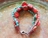Red Picasso bracelet, boho bracelet, fall trends, gifts for her, gift ideas, girlfriend gift, southwestern bracelet,  turquoise bracelet,