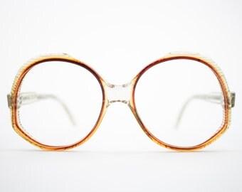 Vintage 1970s Eyeglasses   Clear Brown Oversized Round 1970s Glasses   NOS Eyeglass Frame   Vintage Deadstock Eyewear - Ravenna 2