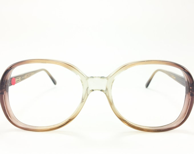 80s Vintage Glasses | Clear Oversized Round Eyeglass Frames | NOS 1980s Brown Ombre Eyeglasses - Cunard Brown XX