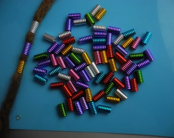 50 Long  Mix Color colorful Dreadlock Beads Adjustable Hair Braid Cuff clip 8mm hole