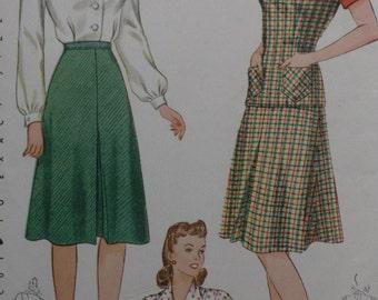 Simplicity 4161 Pattern Misses' Jerkin, Skirt & Blouse Vintage 1940's Size 12 Bust 30