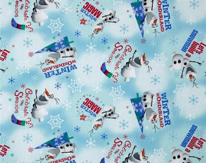 Springs Creative - Christmas Disney Frozen Olaf Winter Wonderland Blue - Cotton Woven Fabric