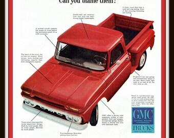 1965 GMC Pickup Truck print ad-Ephemera, decor, to frame, nostalgia, reference