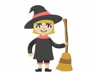 Witch With Broom Machine Embroidery Design