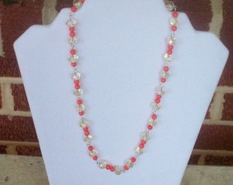 light yellow and coral beaded necklace