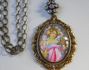Alphonse Mucha Woman Art Cameo Pendant Necklace Art Nouveau Cameo Muse Cameo
