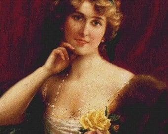 An Elegant Lady With A Yellow Rose PDF Cross Stitch Pattern