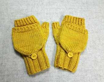 Convertible Fingerless Gloves for toddlers, yellow, curry, armwarmers with flap, gift for kids