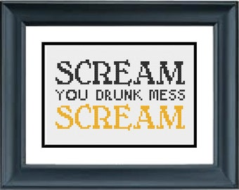 Scream You Drunk Mess Scream - Unbreakable Kimmy Schmidt - PDF Cross-Stitch Pattern - Netflix