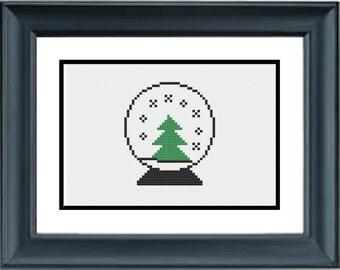 Tree in Snow Globe - Christmas Cross Stitch Pattern - PDF Cross-Stitch Pattern