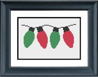 Christmas Lights - Christmas Cross Stitch Pattern - PDF Cross-Stitch Pattern