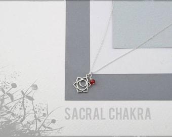 UK Sterling Silver Sacral Chakra necklace, sacral chakra charm, yoga jewelry, 7 chakras jewelry