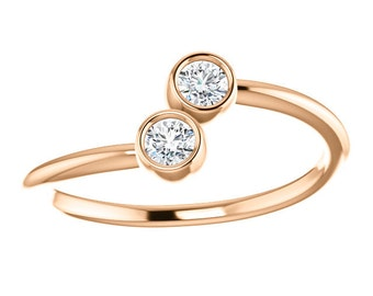 White Sapphire 14K Rose Gold, Stacking Ring, Made to Order, Dual Stone, White and Yellow gold also available