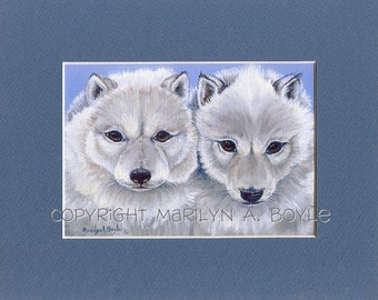 MATTED PRINT - WOLF: arctic wolf cubs, nature, wildlife, wall art, 8 x 10 matted, child's room, wolf print, Canadian art, wildlife art