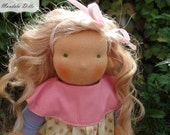 """Juliet is a 14"""" (35cm) fabric girl doll with wefted mohair hair, sculpted face for kids / waldorf style / toy from natural wool / handmade"""