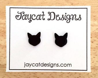 Cat Earrings, Black Cat Silhouette Earrings, Cat Stud Earrings