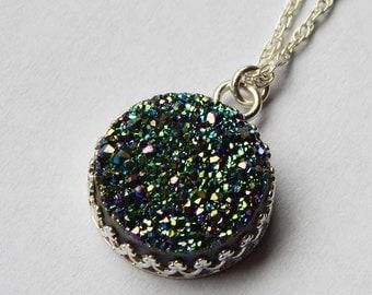 Rainbow Druzy Necklace. Rainbow Druzy Pendant. Druzy Pendant. Druzy Necklace