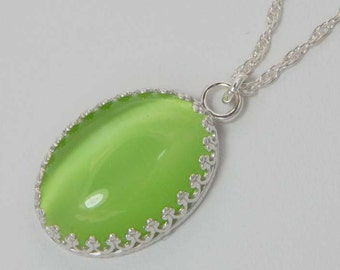 Green Glass Cats Eye Necklace. Glass Cats Eye Pendant. Glass Cats Eye Cabochon. Green Cats Eye Cabochon