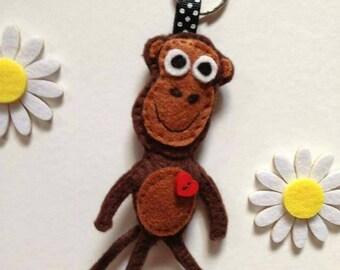 Monkey Felt Keyring