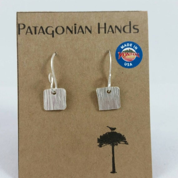 Fine silver small squared hand hammered earrings Free Shipping in the US