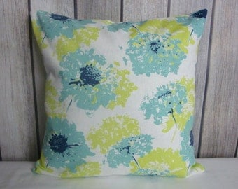 Throw Pillow. Floral Pillow. Pillow Cover. Green Pillow. Lime Green Pillow. Blue Pillow