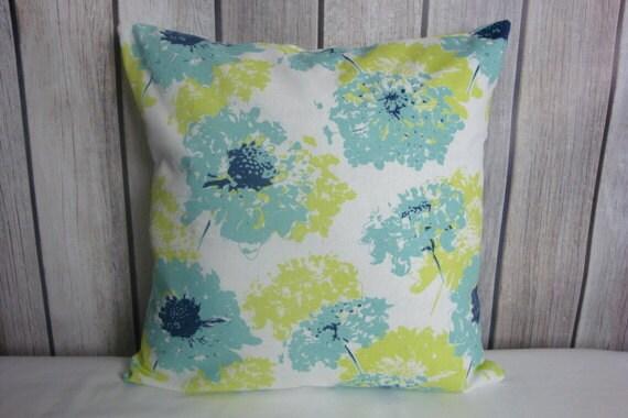 Throw Pillow. Floral Pillow. Pillow Cover. Green Pillow. Lime Green Pillow. Blue Pillow