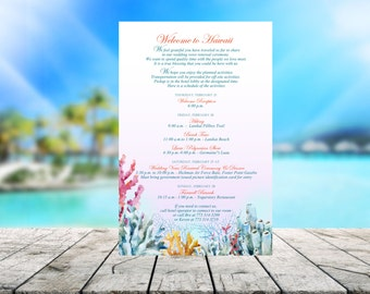 20 Beach Destination Wedding Itinerary, programs, schedules, reception menus, or welcome letters for welcome bag, hospitality bag, goody bag