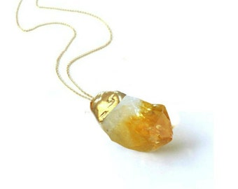 Citrine Necklace, Gift For Aunt, Natural Citrine Jewelry, Nanny Gift, Modern Stone Jewelry, Rough Citrine Orange Gemstone, Traditional Gift