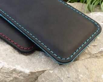HTC 10 leather case, htc 10 wool felt bag, htc 10 sleeve MIXED leather case, wool felt sleeve
