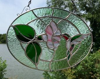 Sweveneers Stained Glass Ruby-Throated Hummingbird Panel