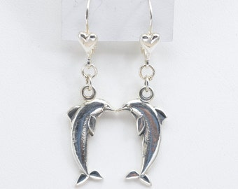 Sterling Silver Dolphin Earrings by Donna Pizarro fr her Animal Whimsey Line of Silver Dolphin Jewelry, Dolphin Earrings & Porpoise Jewelry
