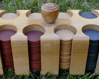 Wooden Poker Chips and Covered Wooden Caddy Vintage