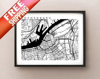 Gothenburg Map - Sweden Poster - Göteborg, Sverige - Black and White