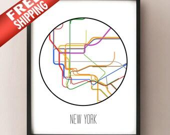 New York City - Minimalist Metro Subway Art Print - NYC Subway