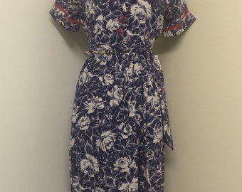 Vintage 40s Rose print cotton day dress