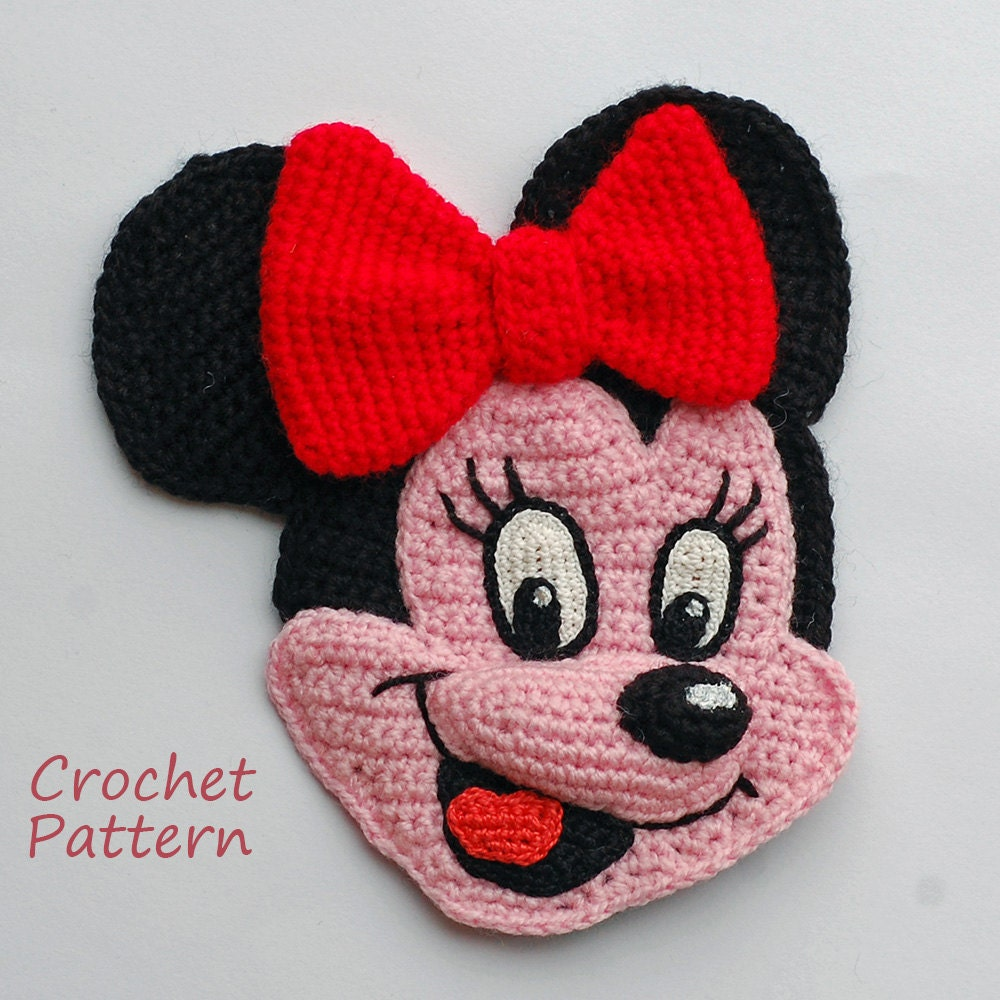 crochet pattern applique charming mouse minnie and