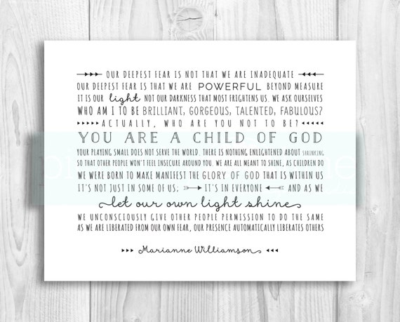 Our Deepest Fear Inspirational Quote Marianne Williamson