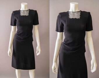 vintage 1940s dress / 40 black rayon dress / extra small / Piccolo Dress