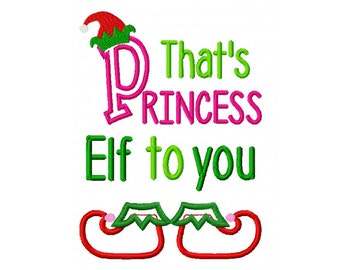 Princess Elf Embroidery Design 5x7 -INSTANT DOWNLOAD-
