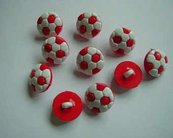 10 red and white round football buttons