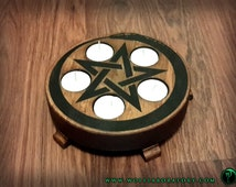 Candle holders/incense burners with pentacle and uroboros