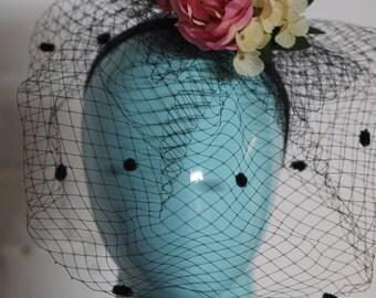 Pink Rose w/ Black Polka Net Headress