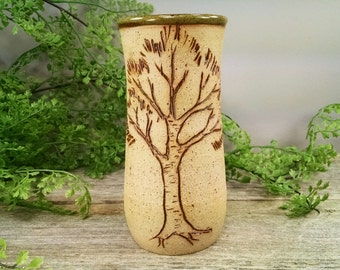 16 oz Bright Green Birch Tree Mug - Wheel Thrown and Hand Sculpted Coffee Cup