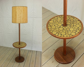 Gordon & Jane Martz for Marshall Studios Teak Wood Table Lamp Inlay Circle Pottery Tiles Mid Century Modern Atomic Retro 50's 60's