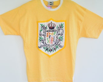 Chaus Sport 1980's Over Sized Tee Shirt Prep School Beaded Embroidered Front  Velcro Removable Shoulder Pads