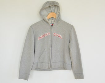 Tommy Girl Hoodie Semi Cropped Tommy Girl Spell Out Front Tommy Hilfiger Grey Hoodie Size Large 90's Era