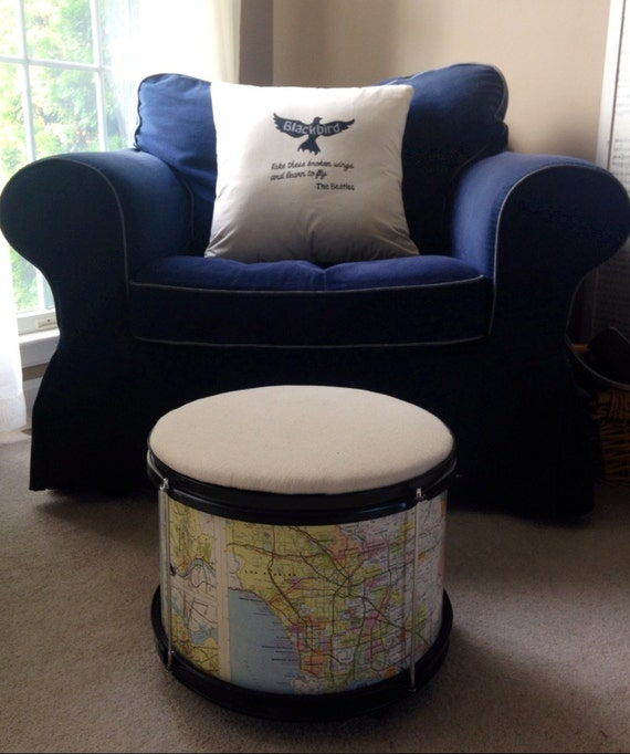 Repurposed drum upholstered storage ottoman by for Repurposed drum shelf