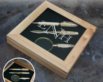 Father of the Bride Personalized Pen Set with Letter Opener & Magnifying Glass in Presentation Box Engraved with Font Selection