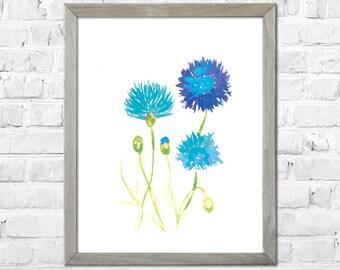 Blue flower, Watercolor flower print, Flower painting, Flower Art Print, Abstract flower, Watercolor art, Home Decor, Wall Art